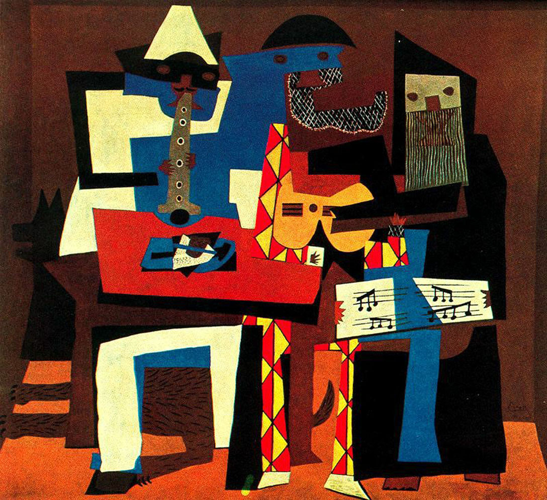 pablo picassos three musicians Some of picasso's cubism paintings include three musicians and the portrait of ambroise vollard neoclassical style although picasso would continue to experiment with cubism, around 1921 he went through a period of painting more classical style paintings.